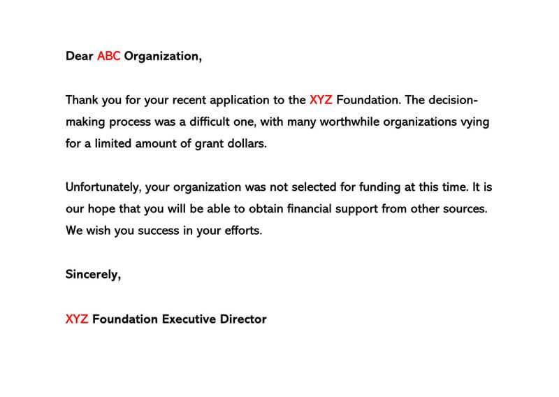 Sample Grant Rejection Letter 07
