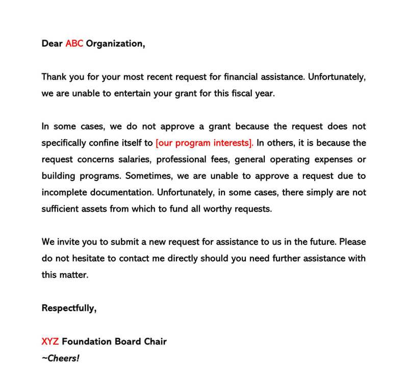 Sample Grant Rejection Letter 08