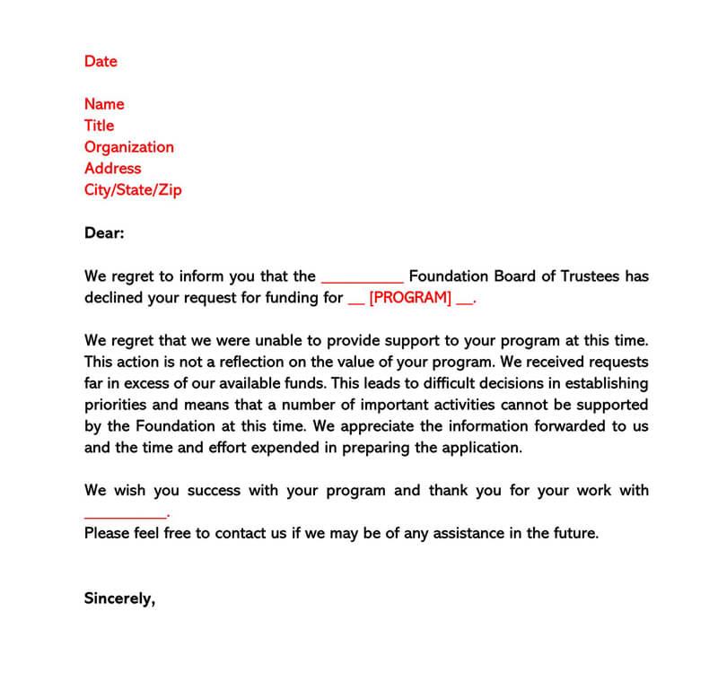 Sample Grant Rejection Letter 02