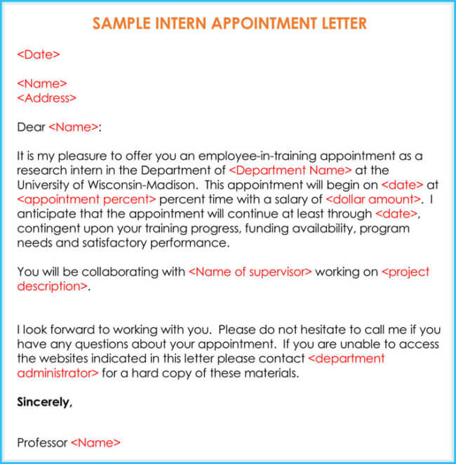 Internship Offer  Appointment Letter Template   Samples  Formats
