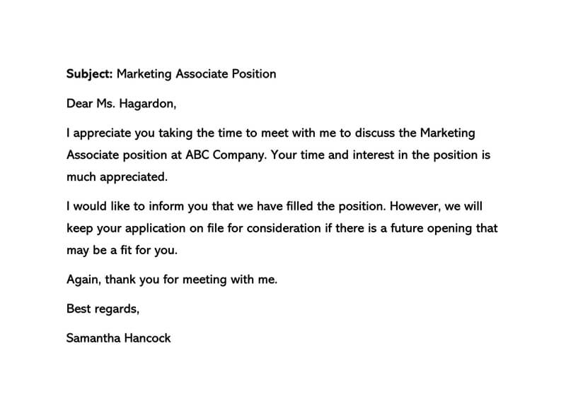 Sample Interview Rejection Letter 02