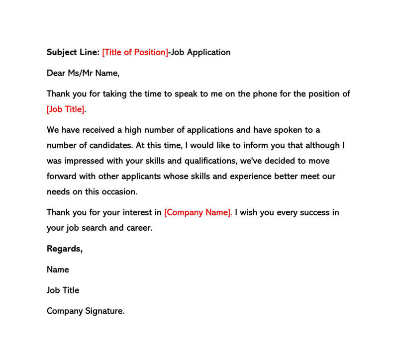 Sample Interview Rejection Letter 05