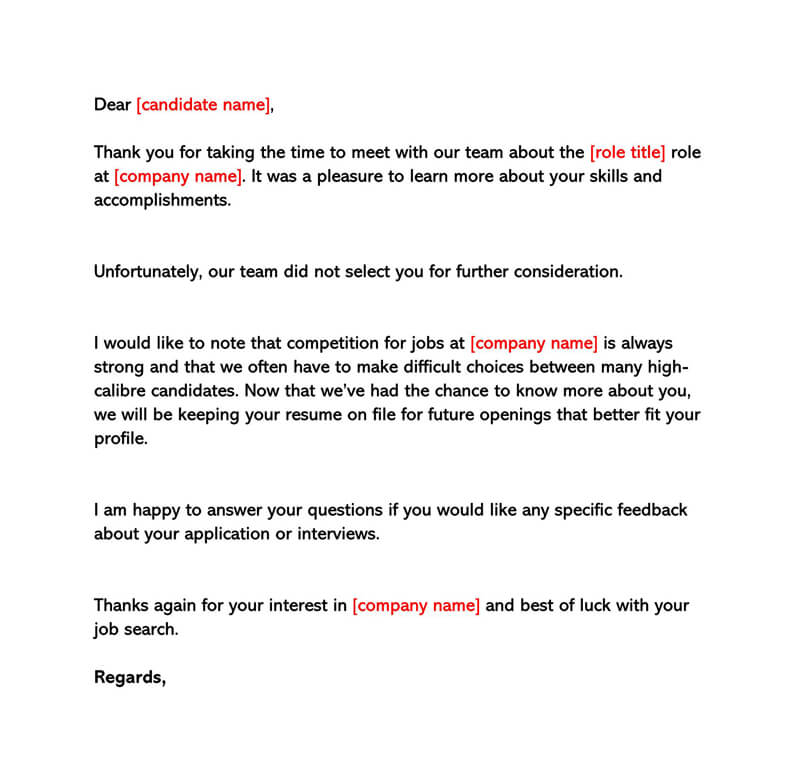 Sample Interview Rejection Letter 06