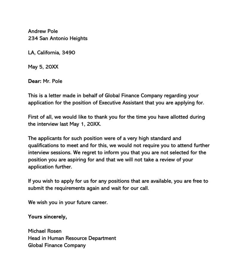 Sample Interview Rejection Letter 07