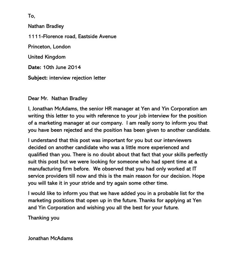 Sample Interview Rejection Letter 13