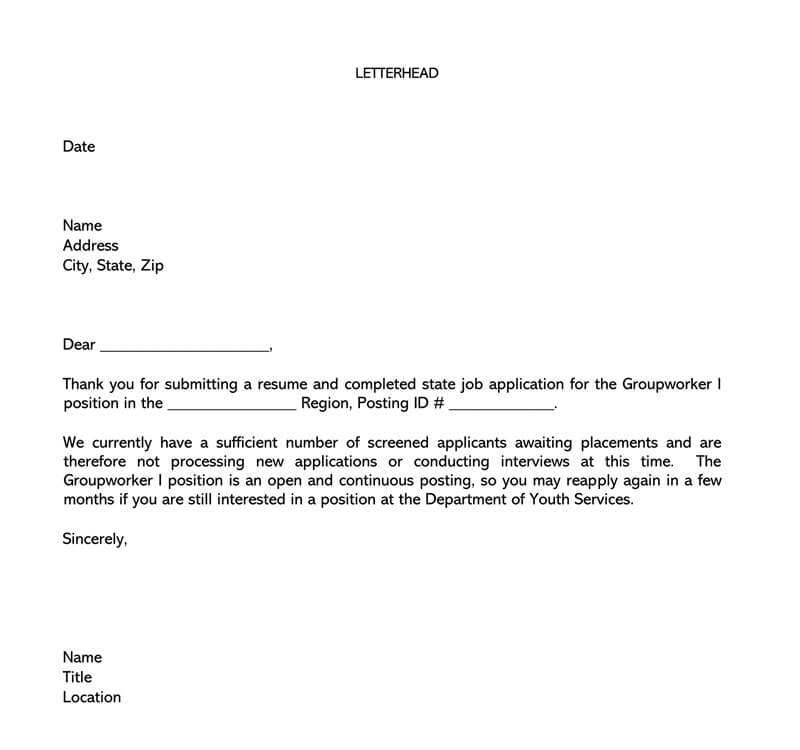 Sample Job Rejection Letter 22