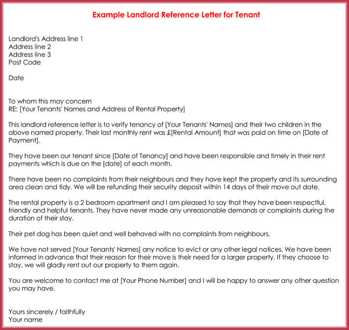 Sample Landlord Reference Letter For Tenant