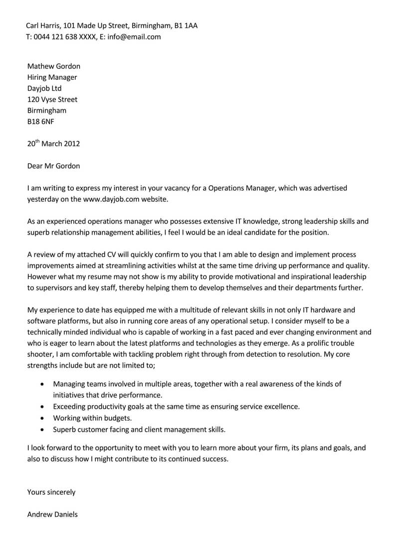 Sample Letter for IT Operations Manager