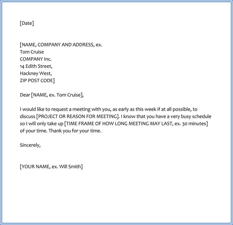 Sample Letter for Meeting Appointment with Boss