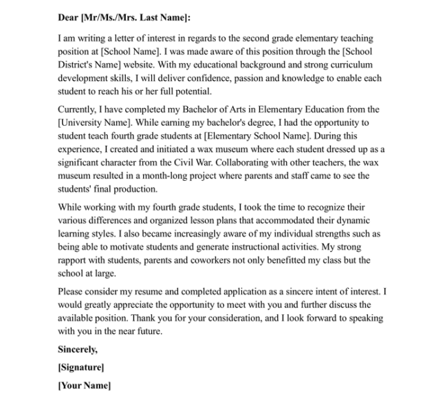 Sample Letter Of Interest For Teaching Position