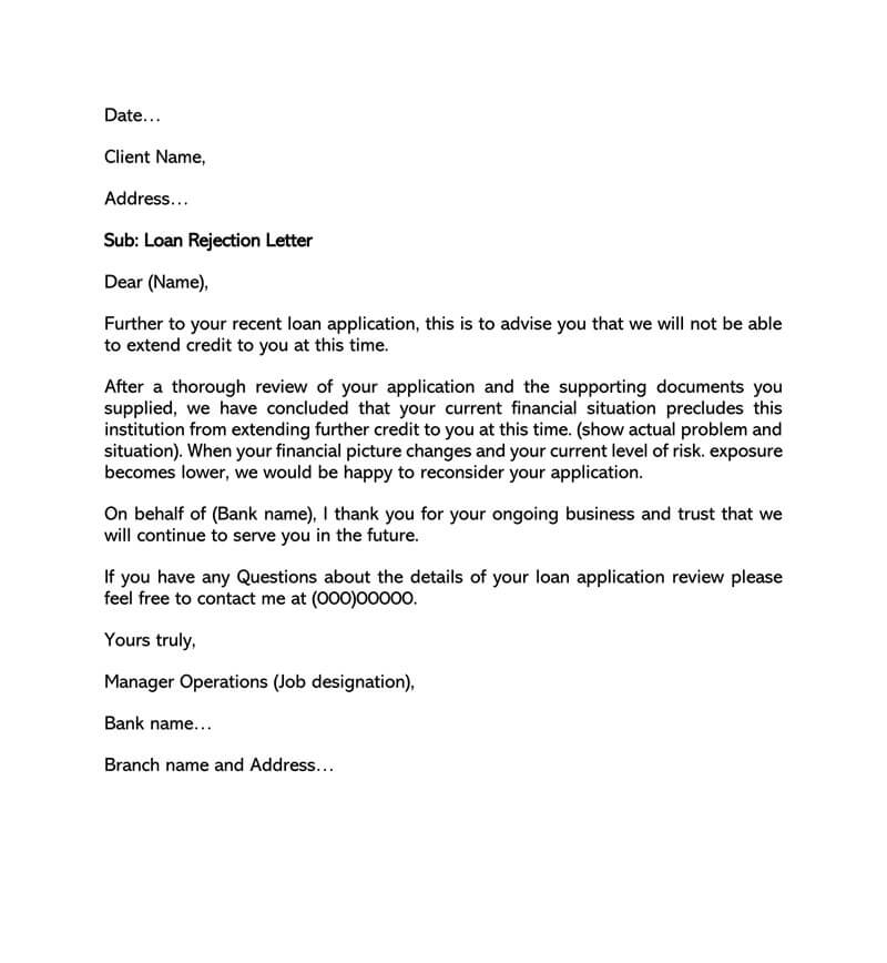 Sample Loan Rejection Letter 07
