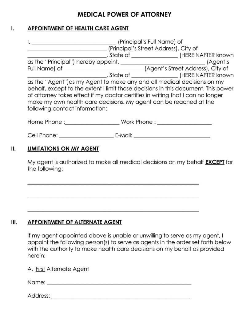 Sample Medical POA Form
