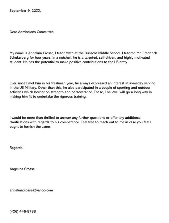 military letter of recommendation  sample letter  u0026 email example