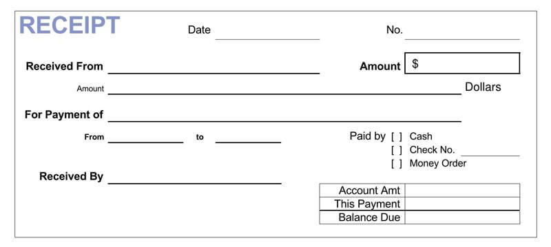 Sample Official Cash Receipt