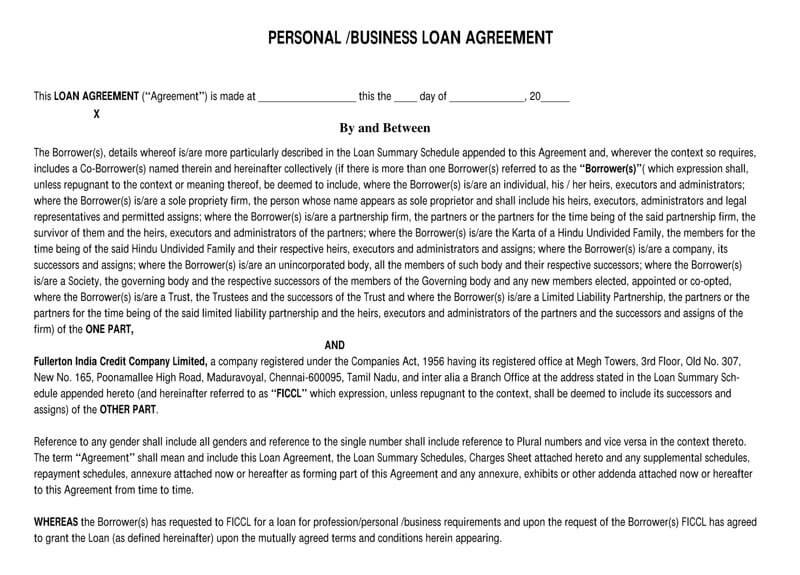 Sample Personal Business Loan Agreement