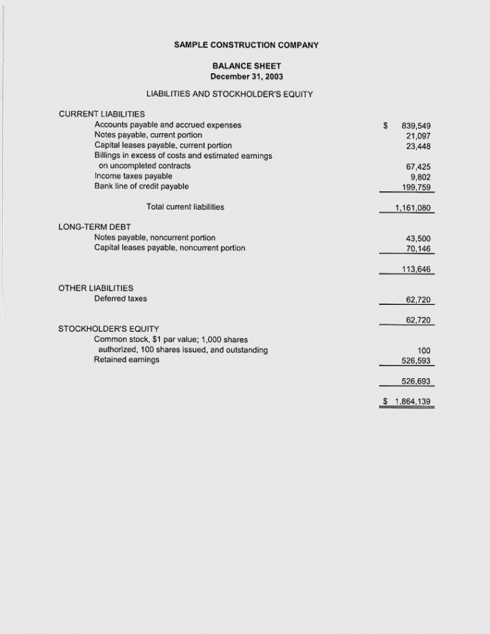 Printable Construction Profit and Loss Statement