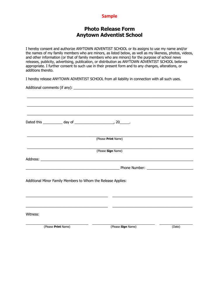 Sample Photo Release Form 19