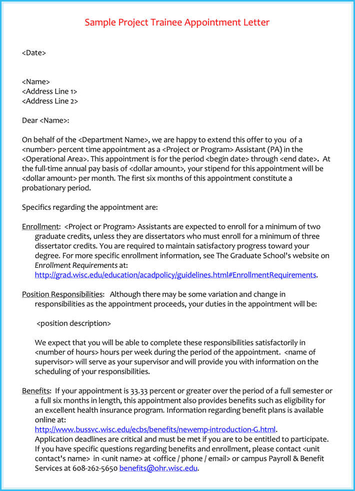 Trainee Appointment Letter 6 Samples Examples Amp Formats