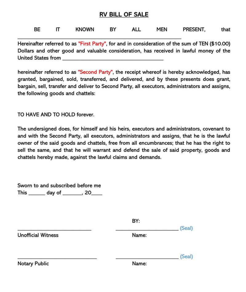 Sample RV Bill of Sale