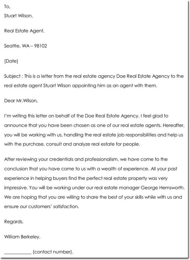 Sample Real Estate Agent Appointment Letter  Letter Of Appointment
