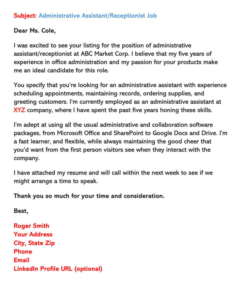 Sample Receptionist Email Cover Letter