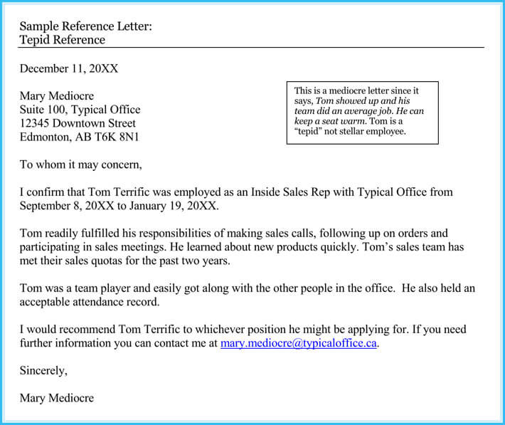 employee reference letters samples