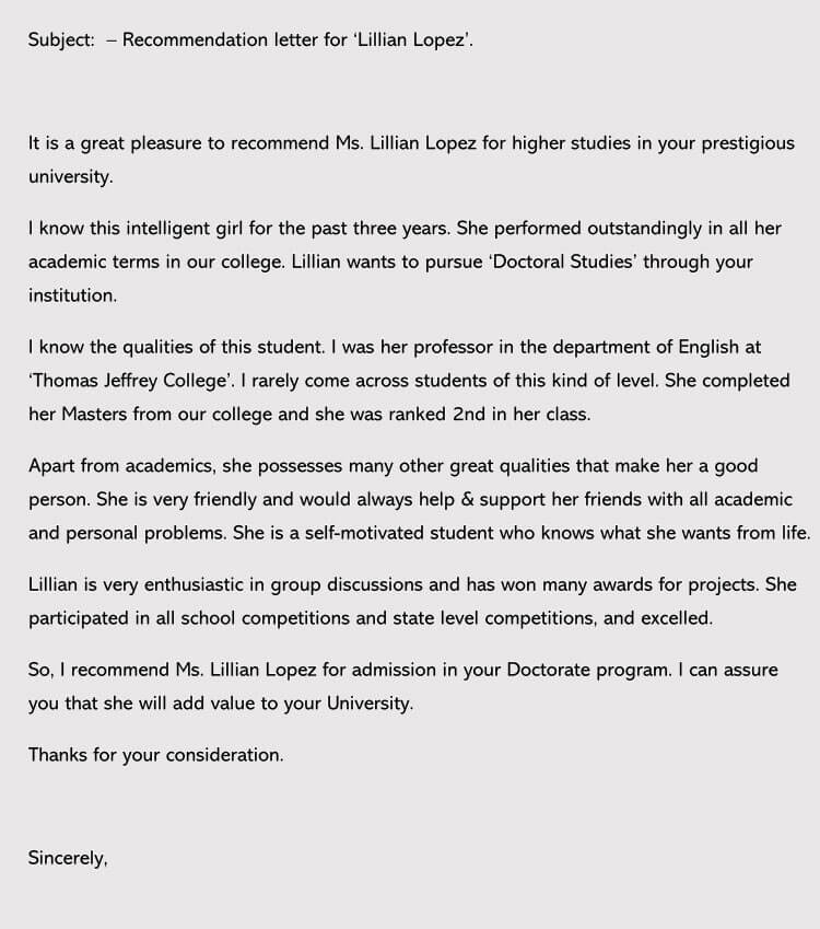 Sample Recommendation Letter for College Admission 2018