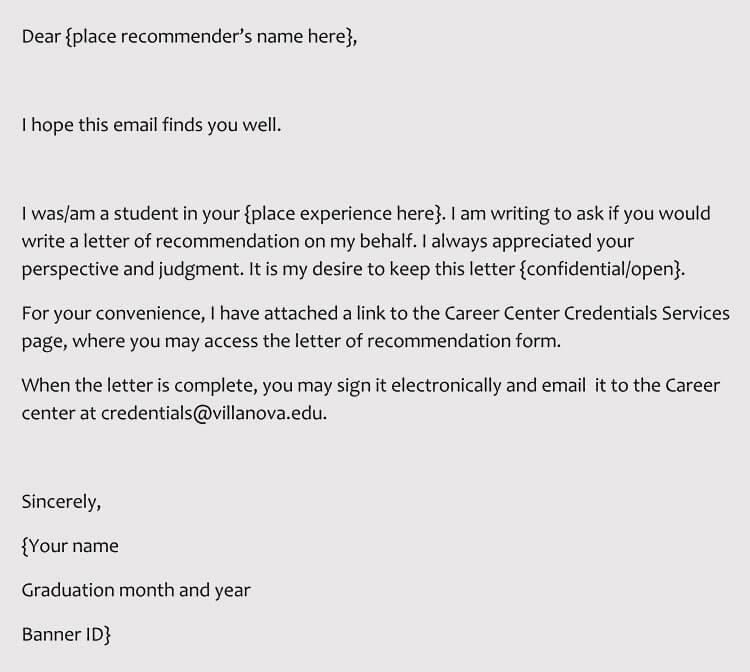 Sample Recommendation Request Letter for Internship