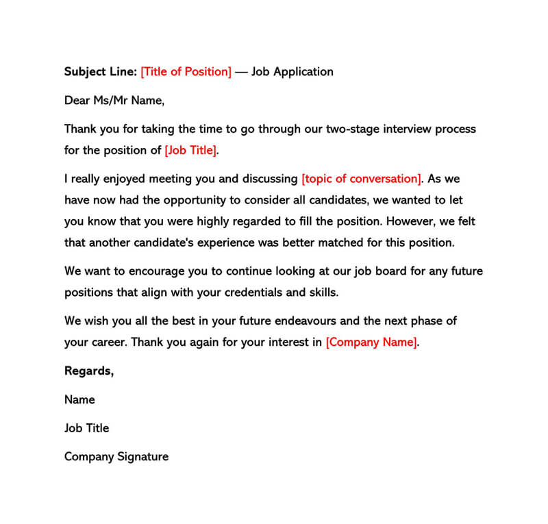 Sample Interview Rejection Letters (Before & After Interview)