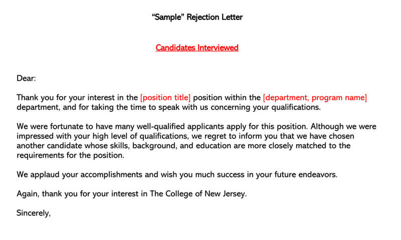 Sample Rejection Letter Candidates Interviewed