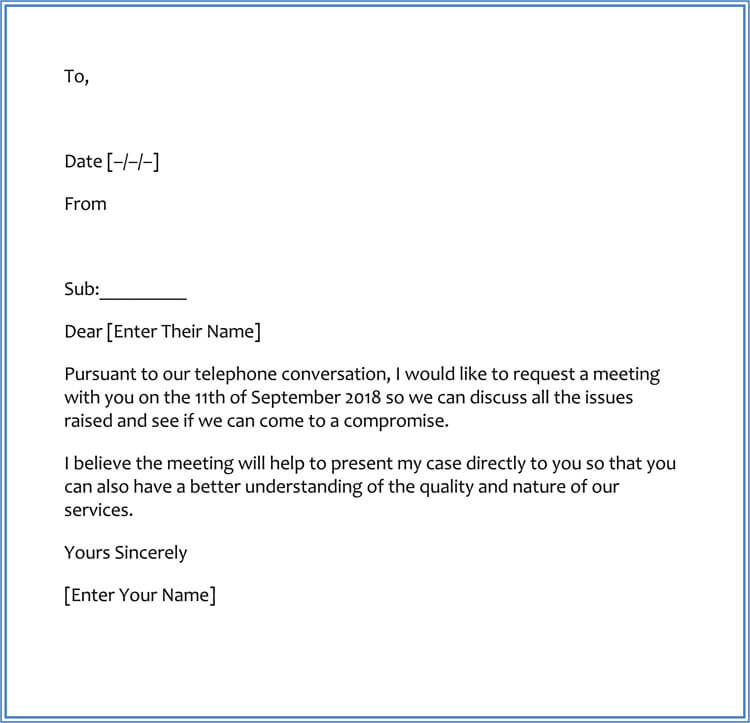 Sample Request Letter for Meeting Appointment with Client
