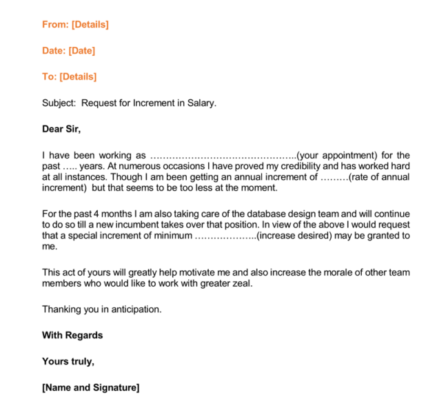 12 Salary Increases Letter Formats Samples for Word and PDF – Request for Increment Letter