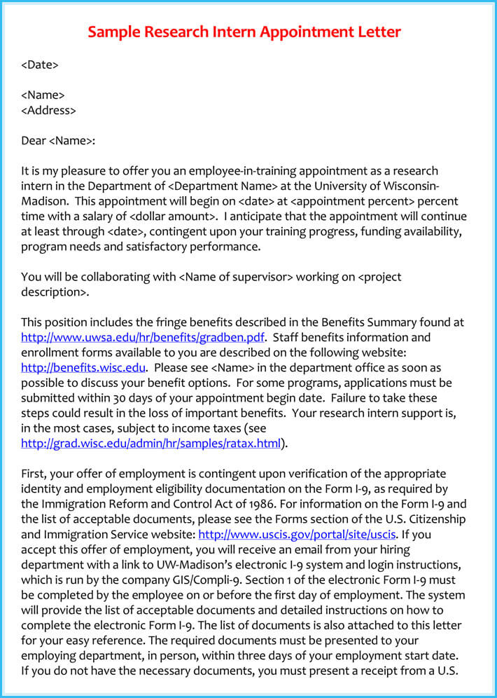 Sample Research Intern Appointment Letter