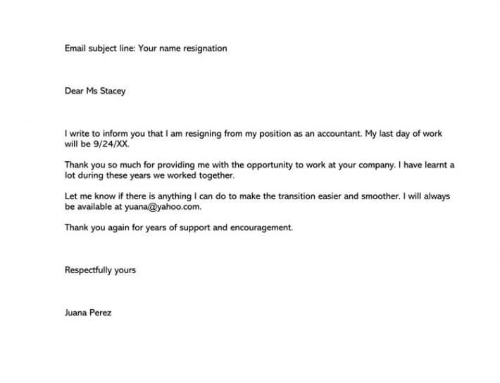 Sample Resignation Email (because of New Job Opportunity)