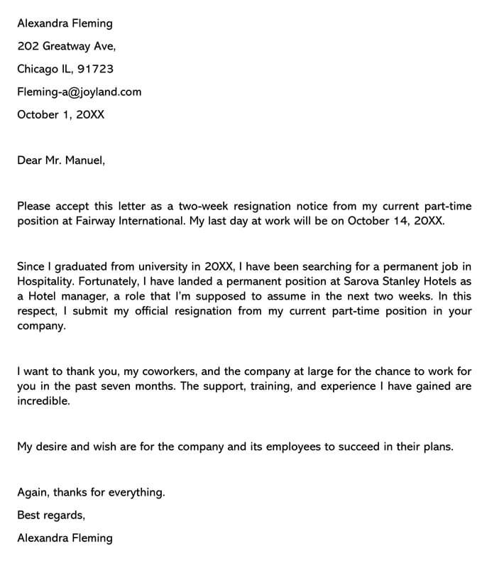 Letter Of Resignation Examples Two Weeks Notice from www.wordtemplatesonline.net