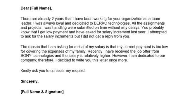letter asking for a raise