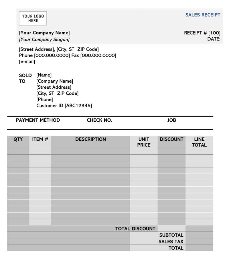 Sample Sales Receipt Template in Word