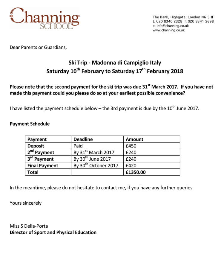 Sample School Payment Reminder Letter