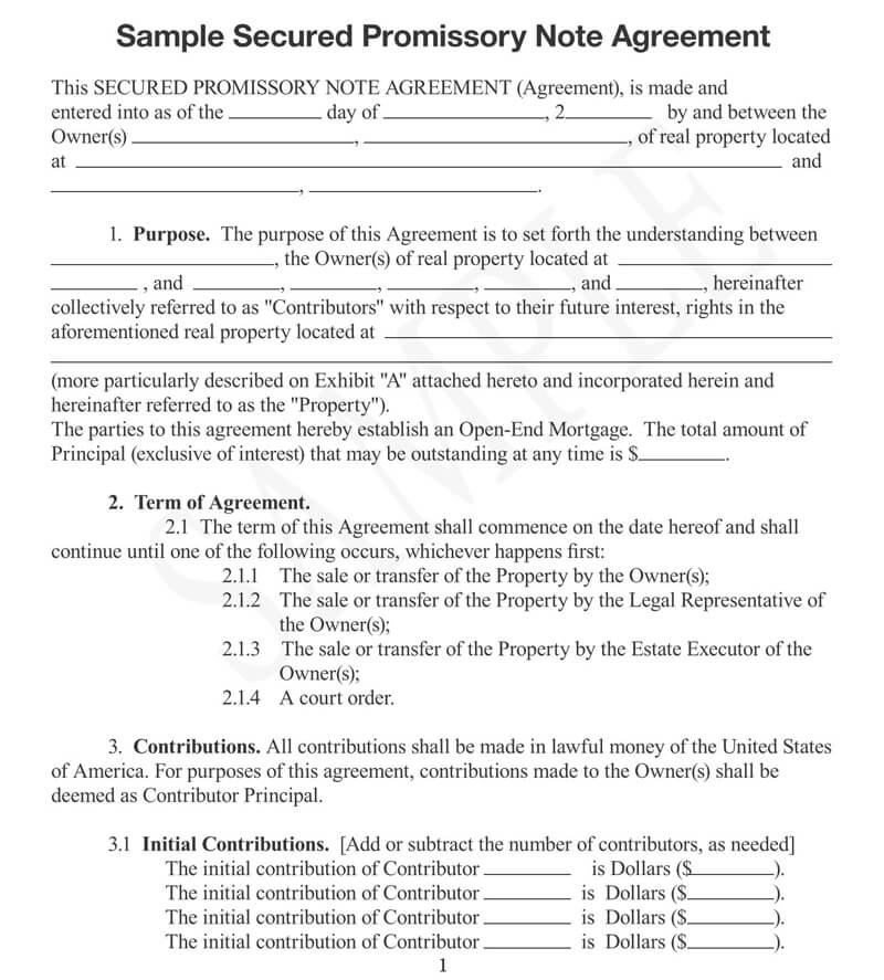Sample Secured Promissory Note Agreement
