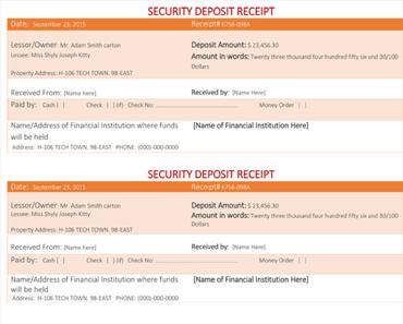 Sample Security Deposit Receipt