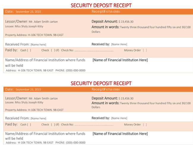 Sample Security Deposit Receipt  Check Receipt Template