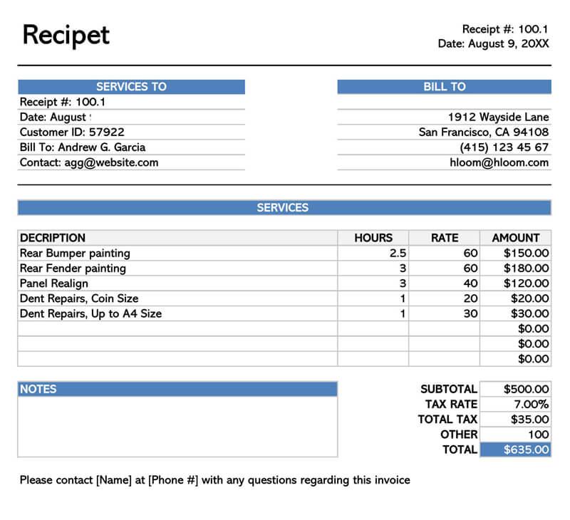 Sample Service Receipt Spreadsheet