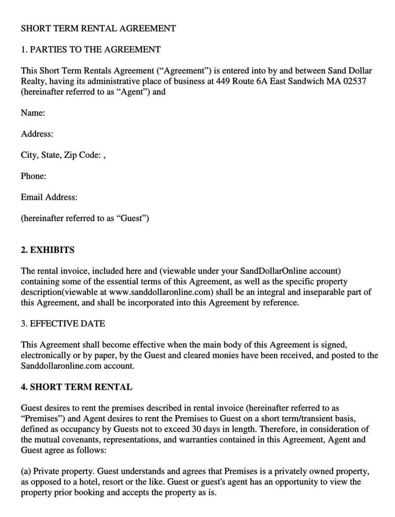 Sample Short Term Rental Agreement
