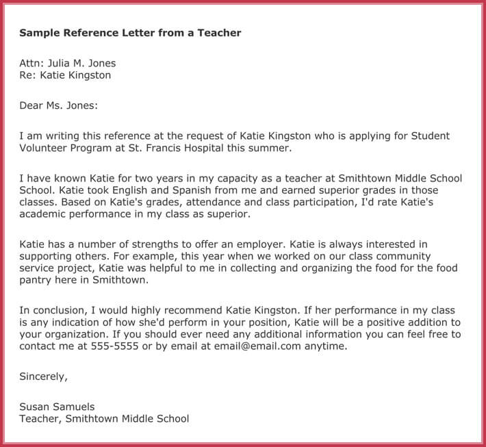 scholarship reference letter samples