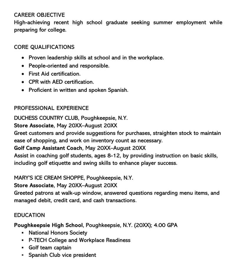Sample Summer Employement Resume Cover Letter