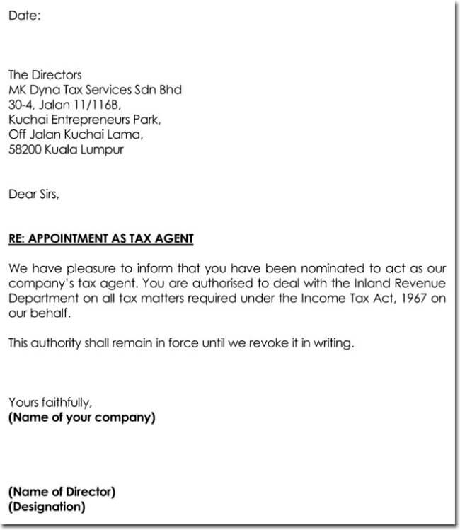Agent Appointment Letter Template   Best Samples In Pdf And Word