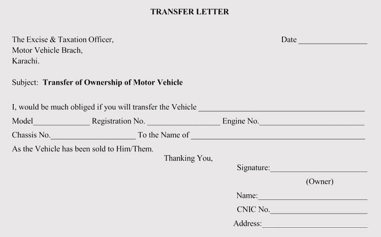 Sample Letter for Transfer of Vehicle Ownership
