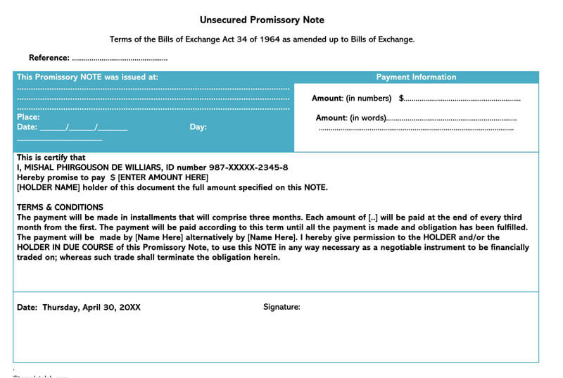 Sample Unsecured Promissory Note Template