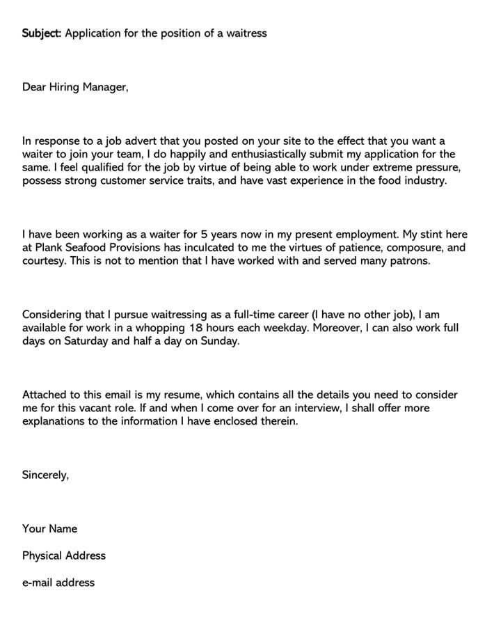 Server Cover Letter Examples (Waiter/Food Service Manager)
