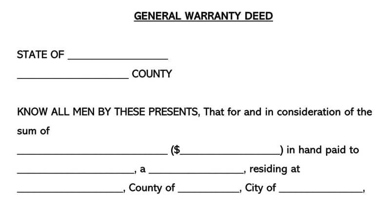 Sample Warranty Deed Form
